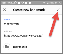 Bookmarking on Opera (Android) - Editing the Bookmark