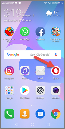 Bookmarking on Opera (Android) - Find browser icon