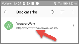 Bookmarking on Opera (Android) - Using the bookmark