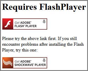 Requires Flashplayer Notice