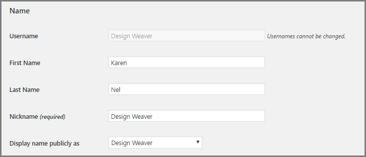 WordPress User Profile - Name options