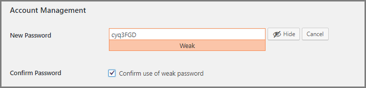 WordPress User Profile - Weak password