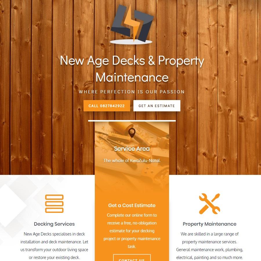 New Age Decks Website Header Section