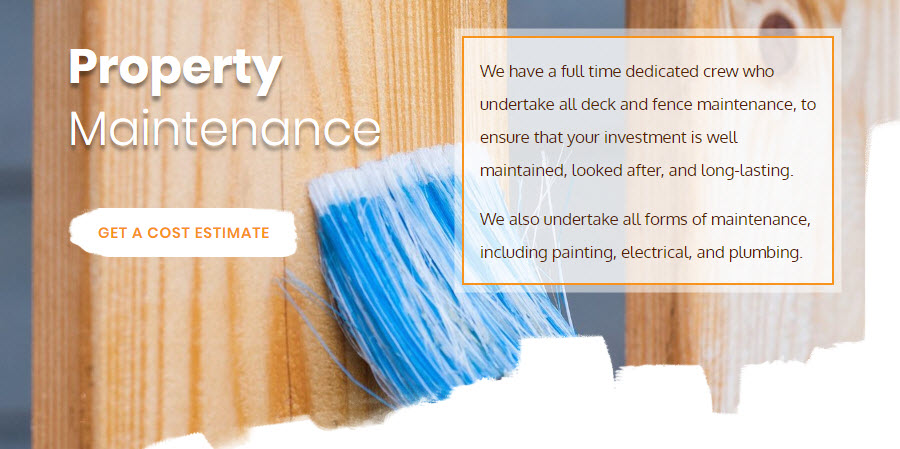New Age Decks Website - Property Maintenance Section
