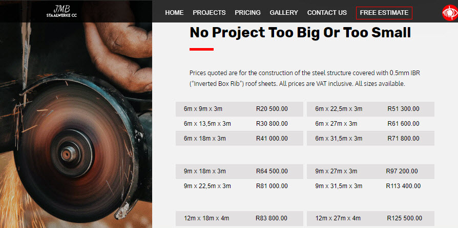 JMB Staalwerke CC website homepage Pricing Section