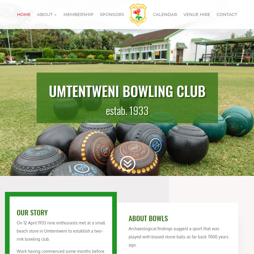 Umtentweni Bowling Club website homepage