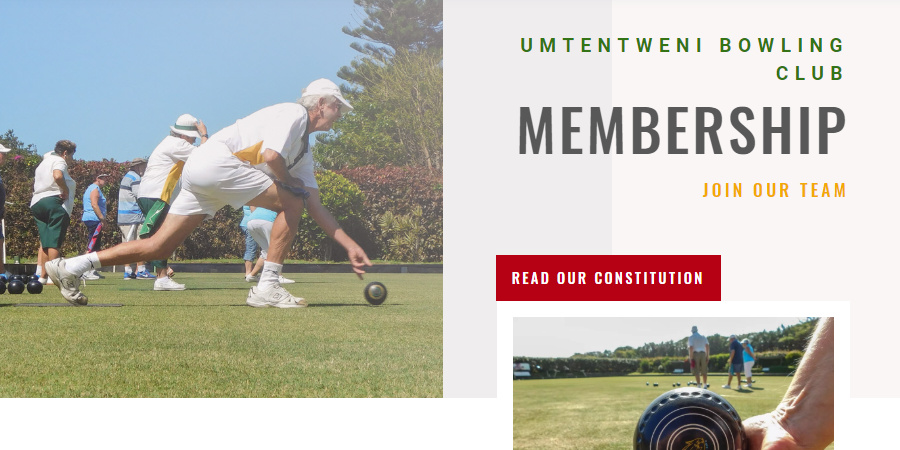 Umtentweni Bowling Club website membership page