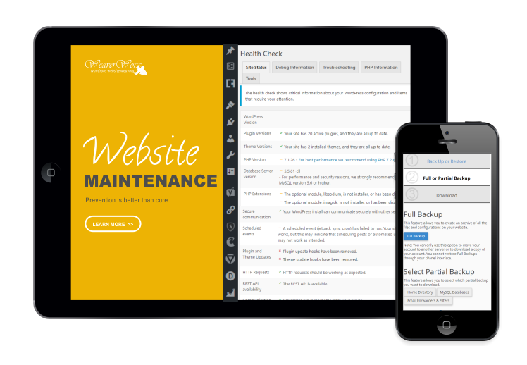 Website manitenance panel displayed on a tablet and mobile phone