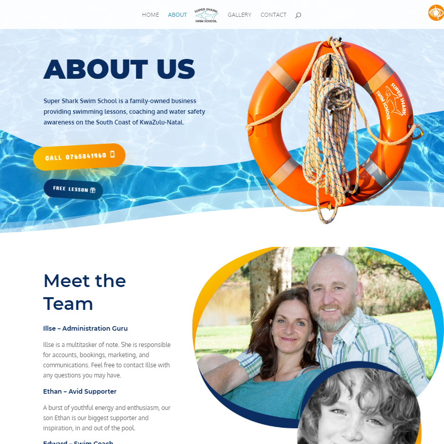 Super Shark Swim School website about page