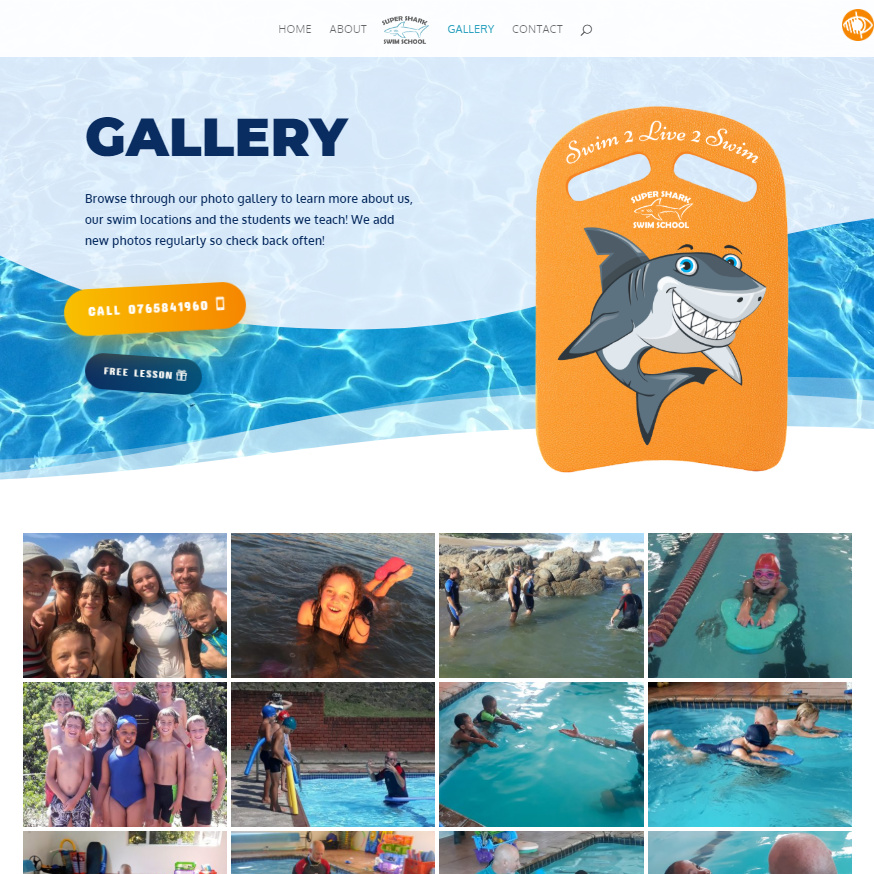 Super Shark Swim School website gallery page