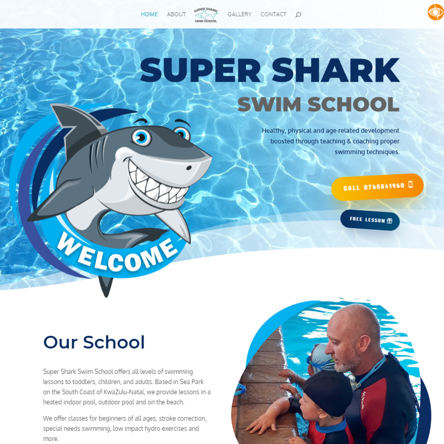 Super Shark Swim School website homepage
